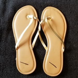 NY & C Shiny Gold Strap Slip On Sandals New